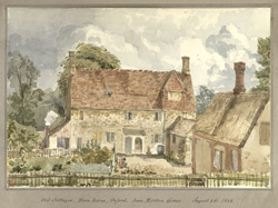 Old Cottages, Rose Lane, Oxford, from Merton Lane August 4th 1848